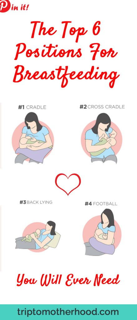 The Top 6 Breastfeeding Positions for a perfect latch and prevention of such breastfeeding problems as clogged milk ducts and mastitis. Try these nursing positions and choose a couple that suits best for you.