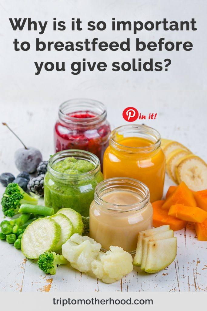 You may have questions about what age to start the baby food and whether or not to breastfeed before or after feeding the solids. Here you will find the answers. #breastfeedingtips #introducingsolids #babyfood #solids